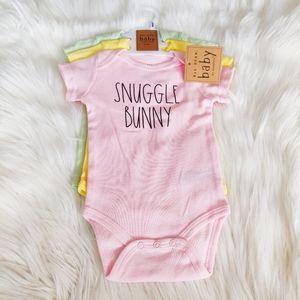 """Rae Dunn Baby x 3 Onesies """"Snuggle Bunny"""""""